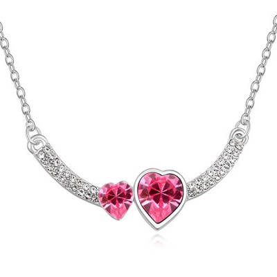 Real Plum Red Two Heart Shape Design Austrian Crystal Crystal Necklaces