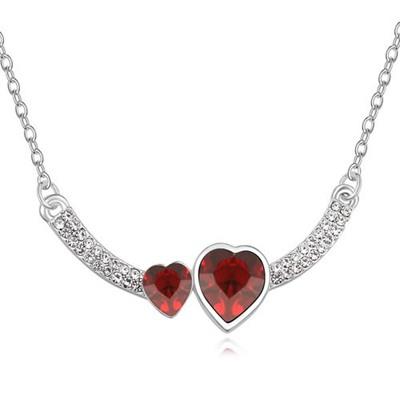 Wonderful Red Two Heart Shape Design Austrian Crystal Crystal Necklaces