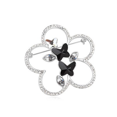 Rugged Black Flying Butterflies Design Austrian Crystal Crystal Brooches