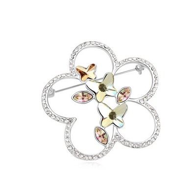 Drawstring Light Yellow Flying Butterflies Design Austrian Crystal Crystal Brooches