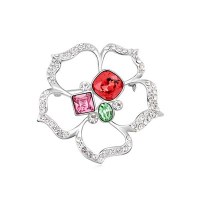 Harry Padparadscha Square Shape Flower Design Austrian Crystal Crystal Brooches