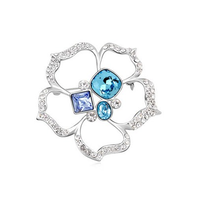 Winding Navy Blue Square Shape Flower Design Austrian Crystal Crystal Brooches
