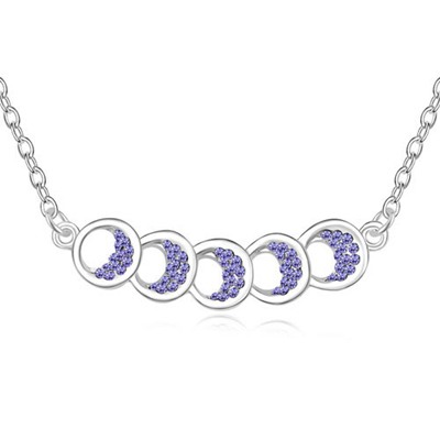 Memorial Tanzanite Five Hollow Out Circle Decorated Austrian Crystal Crystal Necklaces
