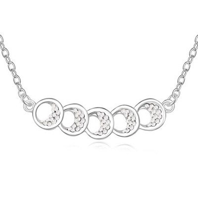 Daisy White Five Hollow Out Circle Decorated Austrian Crystal Crystal Necklaces