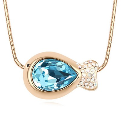 Trendy Navy Blue&Champagne Gold Fish Shape Pendant Design Austrian Crystal Crystal Necklaces