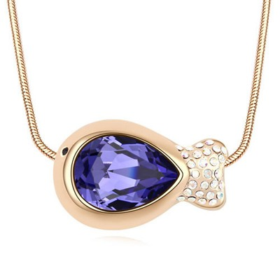 Scrabble Tanzanite&Champagne Gold Fish Shape Pendant Design Austrian Crystal Crystal Necklaces
