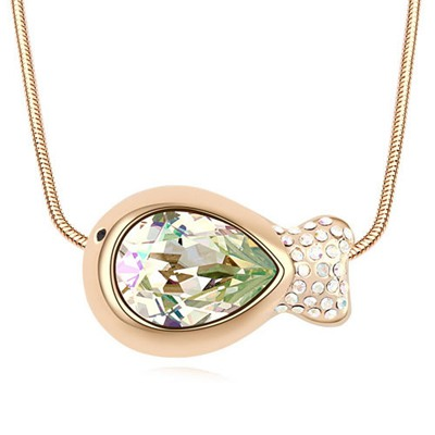Stationary Luminous Green&Champagne Gold Fish Shape Pendant Design Austrian Crystal Crystal Necklaces