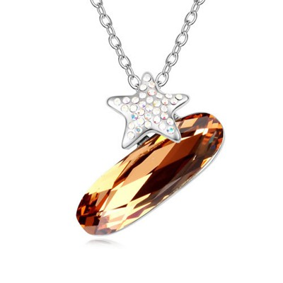 Hooters Light Smoke Yellow Implied Meaning The Night Of Stars Design Austrian Crystal Crystal Necklaces