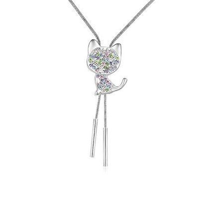 Pantsuit Multicolor Cat With Diamond Decorated Austrian Crystal Crystal Necklaces