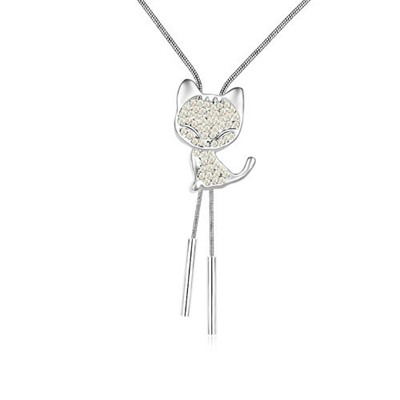 Glam Multicolor Cat With Diamond Decorated Austrian Crystal Crystal Necklaces