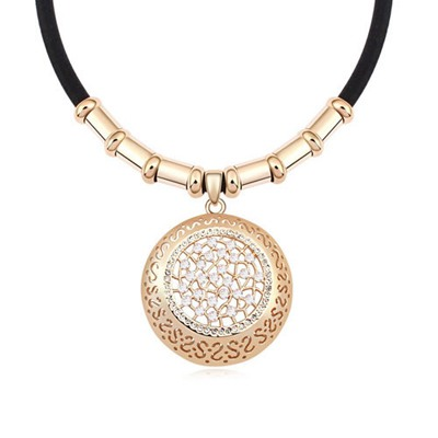 Designer White&Champagne Gold Hollow Out Round Shape Design Austrian Crystal Crystal Necklaces
