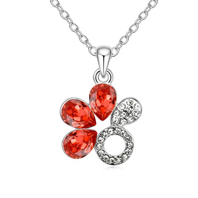 Mysterious Padparadscha Water Drop Shape Flower Design Austrian Crystal Crystal Necklaces