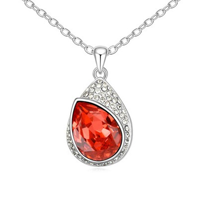 Celebrity Padparadscha Water Drop Shape With Diamond Pendant Design Austrian Crystal Crystal Necklaces