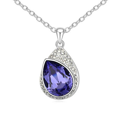 Simple Tanzanite Water Drop Shape With Diamond Pendant Design Austrian Crystal Crystal Necklaces