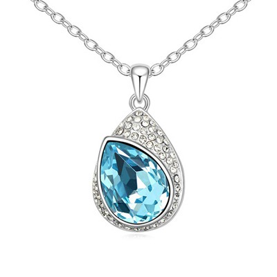 Stationary Navy Blue Water Drop Shape With Diamond Pendant Design Austrian Crystal Crystal Necklaces