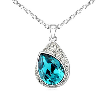Tory Blue Water Drop Shape With Diamond Pendant Design Austrian Crystal Crystal Necklaces