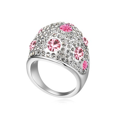Magnetic Light Plum Red Full Of Diamond Wide Surface Design Austrian Crystal Crystal Rings