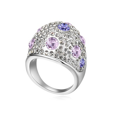 Handmade Violet&Tanzanite Full Of Diamond Wide Surface Design Austrian Crystal Crystal Rings