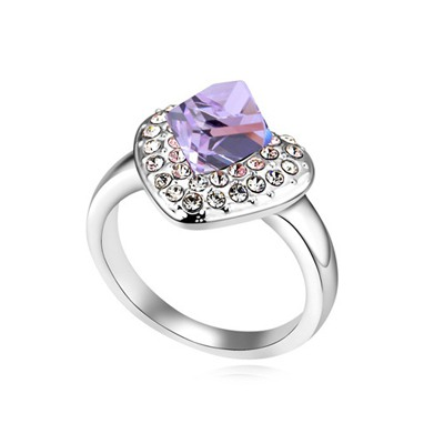 Facial Violet Heart Shape Design Austrian Crystal Crystal Rings