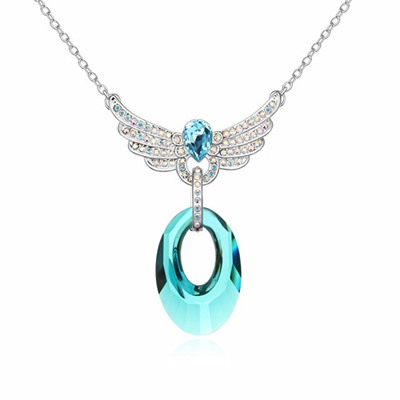 Budget Blue Lover Wing Decorated Austrian Crystal Crystal Necklaces