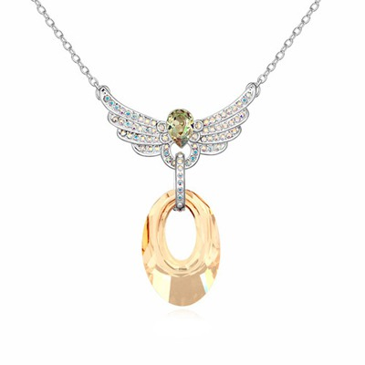 Heather Gold Color Lover Wing Decorated Austrian Crystal Crystal Necklaces