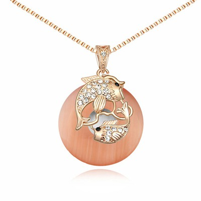Funky Orange&Rose Gold Auspicious Fish Decorated Opal Crystal Necklaces