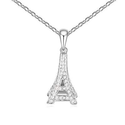 Formal White Eiffel Tower Pendant Design Austrian Crystal Crystal Necklaces