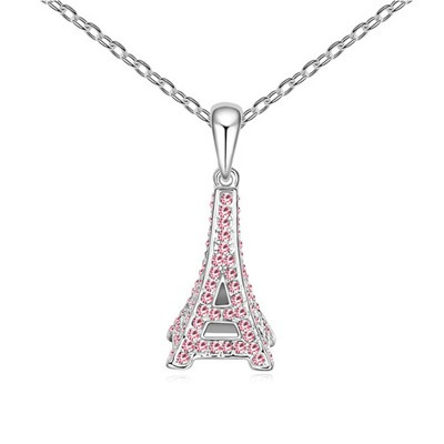 Wool Light Plum Red Eiffel Tower Pendant Design Austrian Crystal Crystal Necklaces