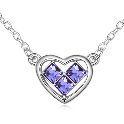 Real Tanzanite Heart Shape Pendant Design Austrian Crystal Crystal Necklaces