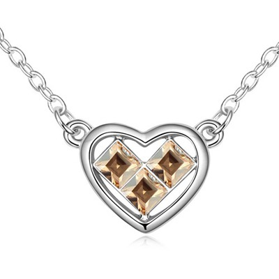 Lace Gold Color Heart Shape Pendant Design Austrian Crystal Crystal Necklaces