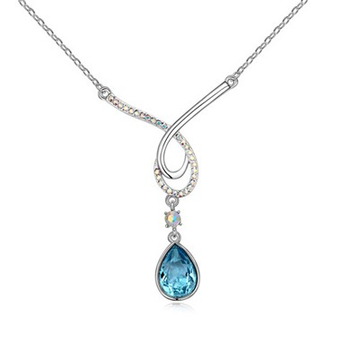 Bohemian Navy Blue Water Drop Shape Pendant Design Austrian Crystal Crystal Necklaces