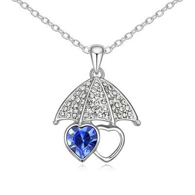 Vintage Blue Lover Umbrella Pendant Design Austrian Crystal Crystal Necklaces