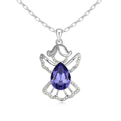 Marathon Tanzanite Water Drop Shape Design Austrian Crystal Crystal Necklaces