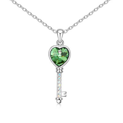 Uniform Olive Love Key Pendant Design Austrian Crystal Crystal Necklaces