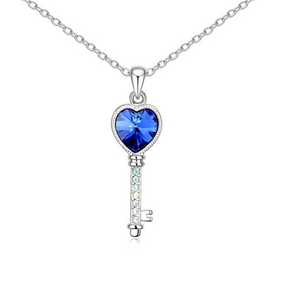 Lace Blue Love Key Pendant Design Austrian Crystal Crystal Necklaces