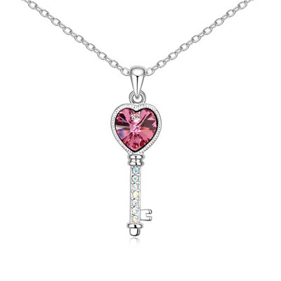 Petite Plum Red Love Key Pendant Design Austrian Crystal Crystal Necklaces