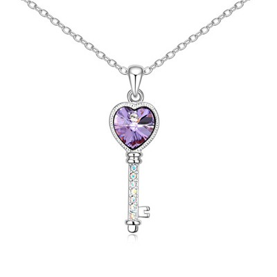 Hooters Violet Love Key Pendant Design Austrian Crystal Crystal Necklaces