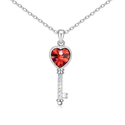 Pentacle Padparadscha Love Key Pendant Design Austrian Crystal Crystal Necklaces
