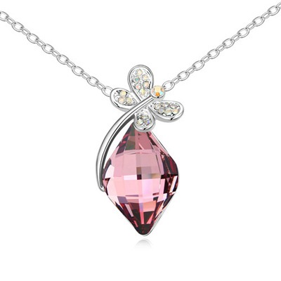 Pendant Pink Dragonfly With Diamond Decorated Austrian Crystal Crystal Necklaces