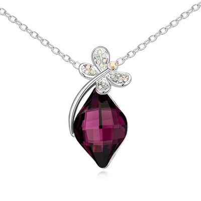 Dickie Purple Dragonfly With Diamond Decorated Austrian Crystal Crystal Necklaces