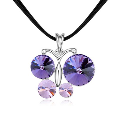 Hemming Tanzanite&Violet Crystal Butterfly Pendant Design Austrian Crystal Crystal Necklaces
