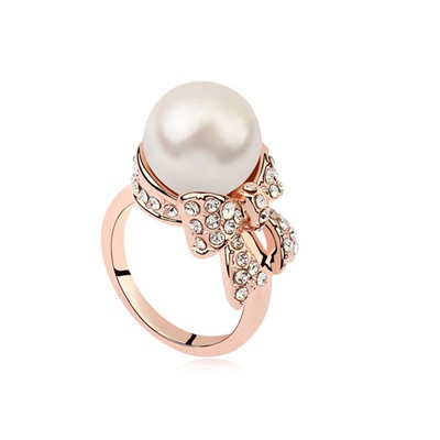 Summer White&Rose Gold Pearl Bowknot Decorated Austrian Crystal Crystal Rings