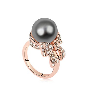 Plaid Dark Gray&Rose Gold Pearl Bowknot Decorated Austrian Crystal Crystal Rings