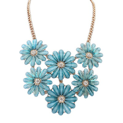 24K Light Blue Double Layers Flower Gemstone Decorated Design Alloy Bib Necklaces