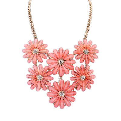 Fall Plum Red Double Layers Flower Gemstone Decorated Design Alloy Bib Necklaces