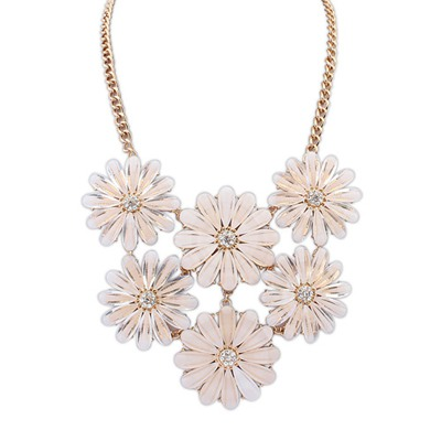 Floating Beige Double Layers Flower Gemstone Decorated Design Alloy Bib Necklaces