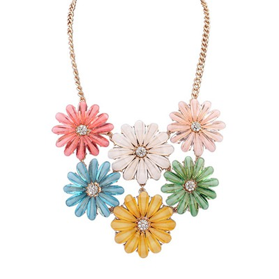 Mink Multicolor Double Layers Flower Gemstone Decorated Design Alloy Bib Necklaces