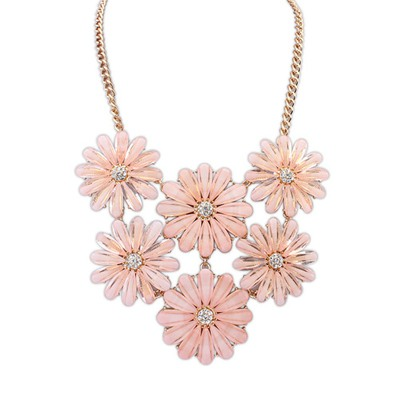 Correspond Pink Double Layers Flower Gemstone Decorated Design Alloy Bib Necklaces