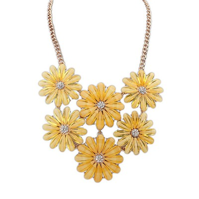 Punk Yellow Double Layers Flower Gemstone Decorated Design Alloy Bib Necklaces