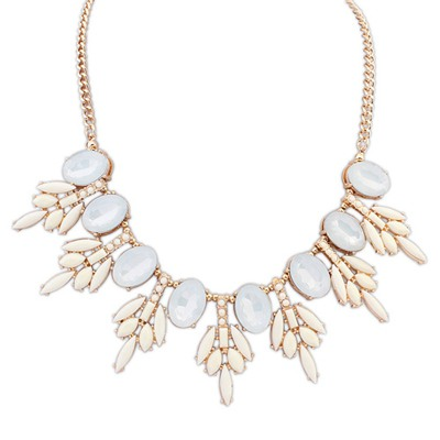 Pretty Beige Tree Leaf Gemstone Decorated Design Alloy Bib Necklaces